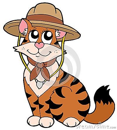Chat mignon dans le chapeau de scout illustration