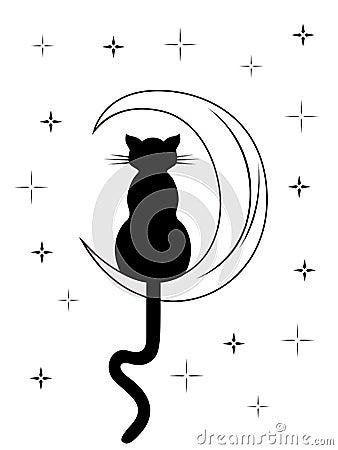 chat noir avec la longue queue se reposant sur la lune