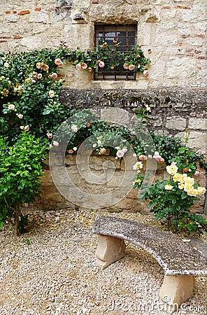 Chateau garden stone bench