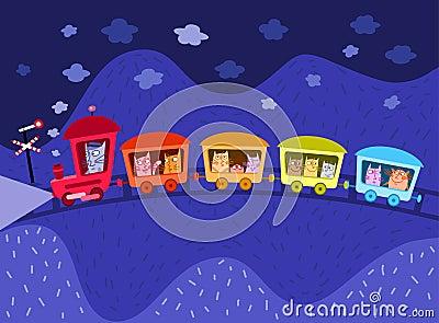Chats se déplaçant par chemin de fer