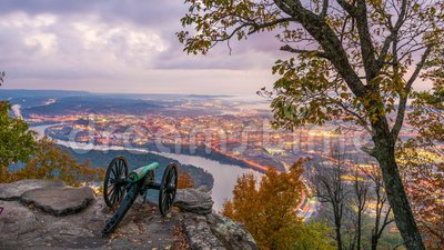 Chattanooga, Tennessee, USA. View from Lookout Mountain at twilight stock video