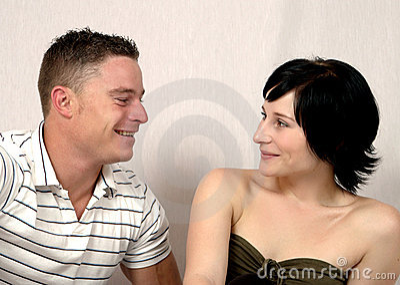 Chatting happy couple