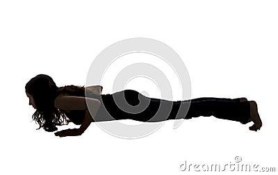 chaturanga dandasana pose in yoga silhouette stock photo