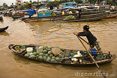 Chau Doc floating market,Vietnam Editorial Photo