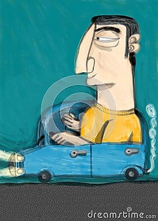Chauffeur leads his car
