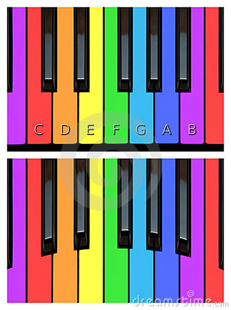 Chaves alegres do piano, keyborad em cores do arco-íris