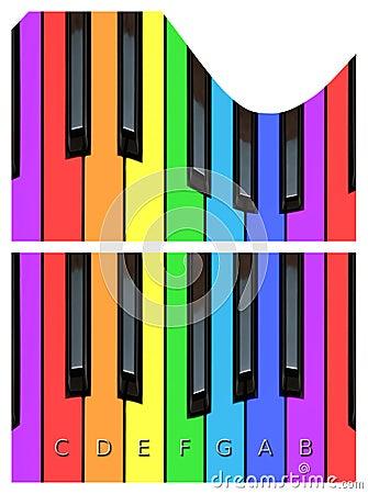 Chaves onduladas do piano, keyborad em cores do arco-íris