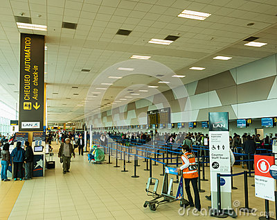 Check-in Area in the Airport of Lima, Peru Editorial Stock Image