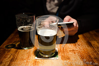 Check-in in a bar Editorial Stock Image