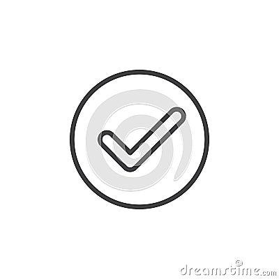 Free Check, Checkmark Circular Line Icon. Round Simple Sign. Stock Photos - 95310703