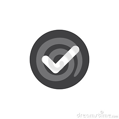 Free Check, Checkmark Flat Icon. Round Simple Button, Circular Vector Sign. Royalty Free Stock Images - 95341229