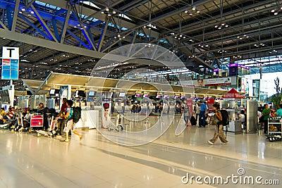 Check-in counters at Bangkok s new airport Editorial Stock Photo