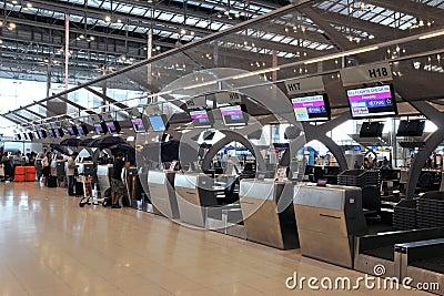 Check-in Counters at Bangkok Suvarnabhumi Airport Editorial Image