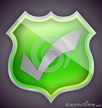Check mark green shield illustration design