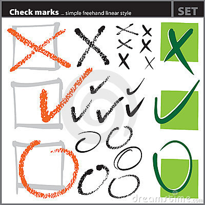 Check marks set (freehand artistic style, )