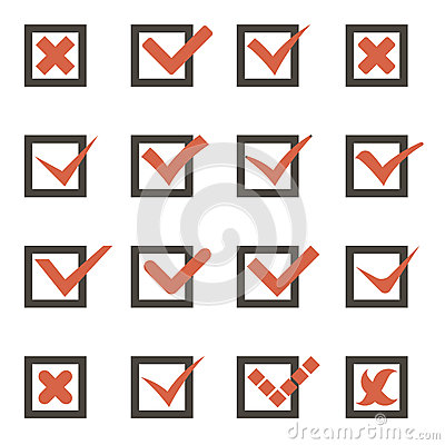 Free Check Marks Symbols Tick And Cross Icons Vector Royalty Free Stock Images - 42320549
