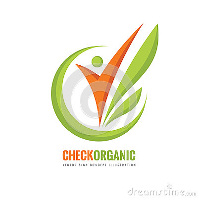 Check Organic - vector logo template concept illustration. Human character and green leaves. Nature product creative sign. Vector Illustration