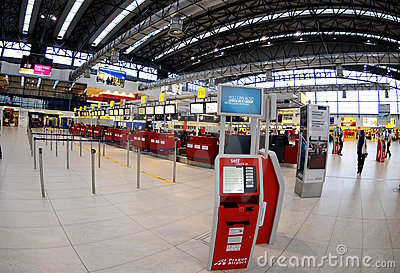 Check-in in Prague  airport Editorial Stock Photo