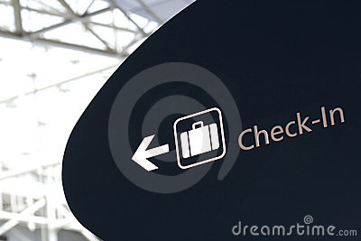Check-in sign in airport