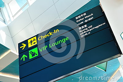 Check-in and VIP lounge signage