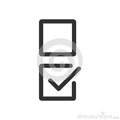 Checkbox set with blank and checked checkbox line art vector icon for apps and websites. editable stroke Stock Photo
