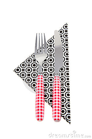 Checked cutlery on a napkin