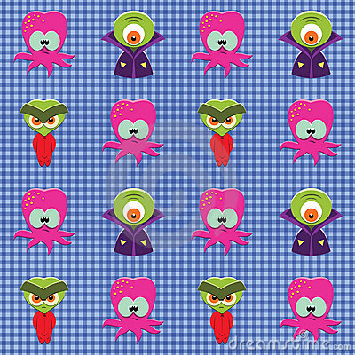 Checked pattern with aliens