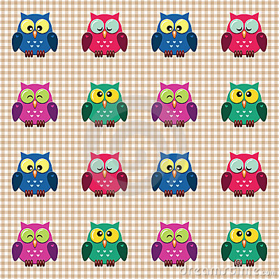 Checked pattern with cute owls.
