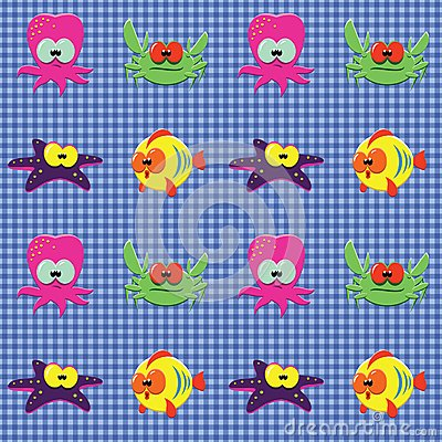 Checked pattern with doodle sea creatures