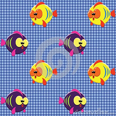 Checked pattern with funny fishes