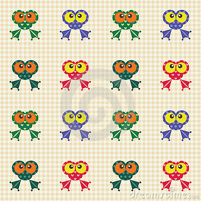 Checked pattern with funny frogs