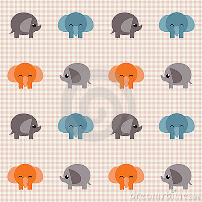 Checked retro pattern with little cute elephants