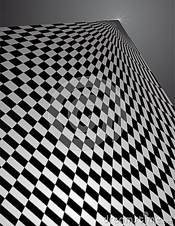 Checker Pattern in perspective - vector illustrati