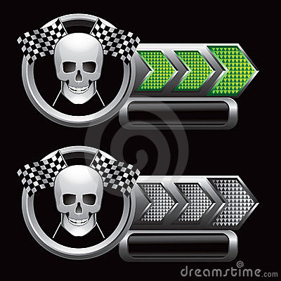 Checkered arrows with racing flags and skull