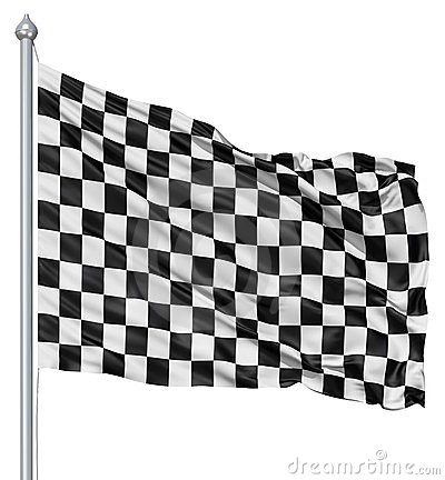 Checkered black and white flag