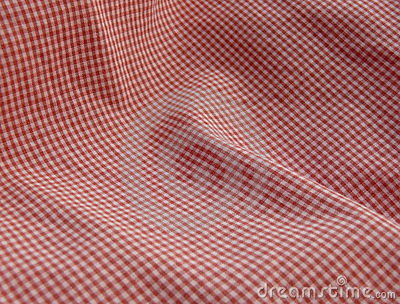 Checkered fabric close up. Red.