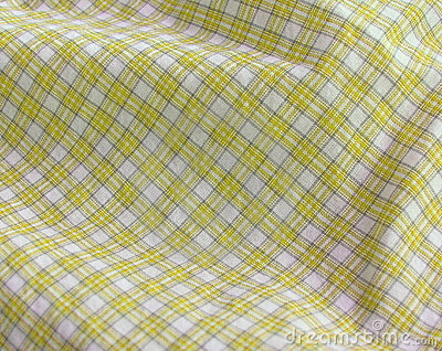 Checkered fabric close up. Yellow.