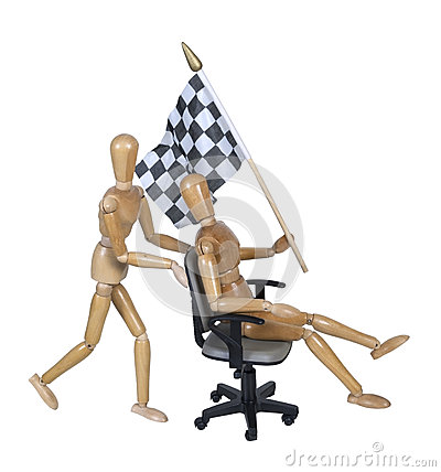 Checkered Flag on Office Chair Races