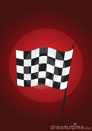 Checkered flag red - vector