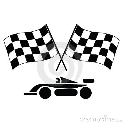 Checkered flags and car