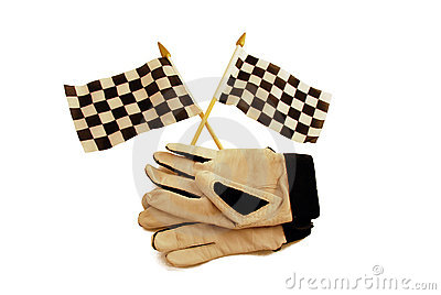 Checkered flags and gloves