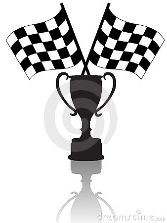 Checkered Flags and Victory Trophy