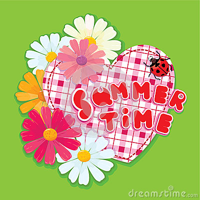 Checkered Heart, ladybird and daisies