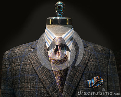Checkered Jacket, Striped Shirt, Tie (Horizontal)