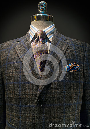 Checkered Jacket, Striped Shirt, Tie (Vertical)