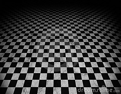 Checkered, marble floor