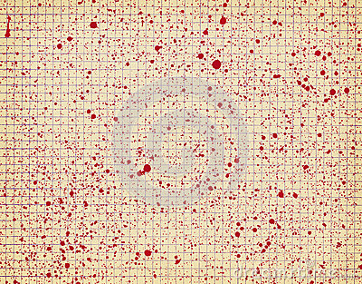 Checkered paper with red blots