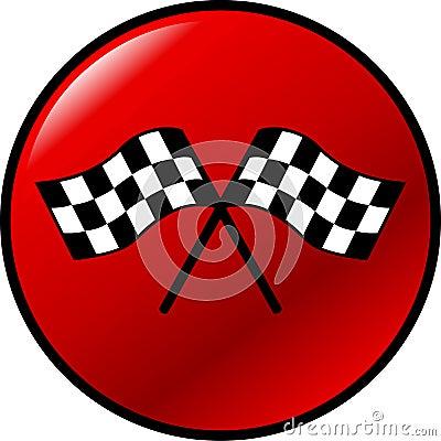Checkered racing flags vector button