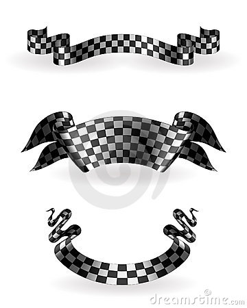 Checkered ribbons set