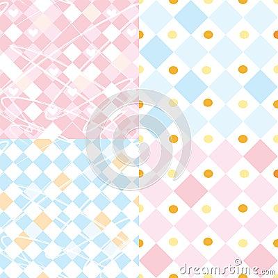 Checkered seamless patterns set
